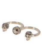 Alexander McQueen Gold-tone Steel Skull Double Ring - Oro