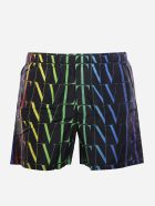 Valentino Swimsuit With Multicolor Vltn Times Print - Black