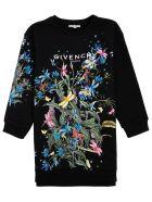 Givenchy Black Jersey Dress With Floral Logo Print - Black