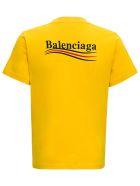 Balenciaga Organic Cotton Slim-fit Yellow T-shirt With Logo - Yellow