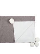 Little Bear Multicolor Blanket For Babykids With Pompoms - Beige