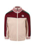 Gucci Multicolor Weatshirt For Kids With Double Gg - Beige