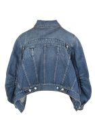 Alexander McQueen Woman Denim Jacket With Blouse Sleeves - Indigo washed