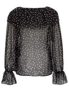 Saint Laurent Polka Dot Silk Shirt With Ruffle Detail - Nero