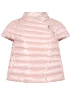 Herno Pink Jacket For Girl With Logo - Rosa