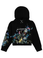 Givenchy Black Cottonhoodie With Floral Logo Print - Black