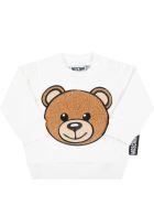 Moschino White Sweatshirt For Baby Kids With Teddy Bear - White