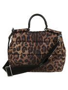 Dolce & Gabbana Buckled Front Logo Plaque Shoulder Bag - Leopard
