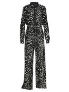 Tom Ford Ikat Leopard Print Crepe Jersey Zipped Jumpsuit - CHALK BLACK LEO