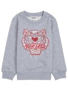 Kenzo Kids Grey Cotton Sweatshirt With Tiger Print - Grey