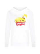 Levi's White Sweatshirt For Kids With Logo And Pikachu - White