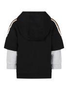 Fendi Black Sweatshirt For Kids With Logo - Black