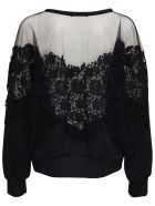 Dolce & Gabbana Jersey Sweatshirt With Tulle And Macramé Details - Black