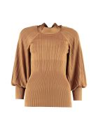 Zimmermann Knitted Blouse With Bow - Camel