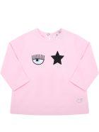 Chiara Ferragni Pink T-shirt For Baby Girl With Eyestar - Pink