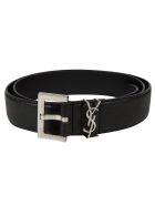 Saint Laurent Square Buckle Classic Belt - Black