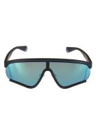 MSGM Polaroid Logo Sunglasses - Black/Blue