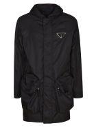 Prada Large Pocket Logo Plaque Raincoat - Black