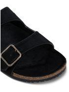 Saint Laurent Jimmy Sandals In Pony Effect Leather - Black