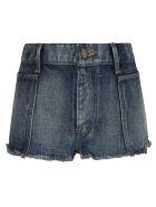 Saint Laurent Fringe Edge Detail Denim Skirt - Indigo Sky Blue