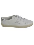 Saint Laurent Low Top Embroidered Sneakers - Optic White/Silver