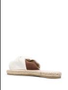 Manebi Woman Flat Sandals With Knot - La Havana - White Linen - White