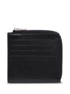 Jil Sander Black Leather Card Holder With Logo - Black