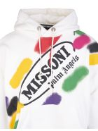 Palm Angels Man White Capsule Oversize Hoodie With Multicolor Print