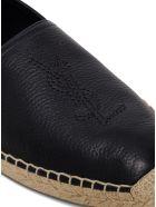 Saint Laurent Espadrilles In Black Leather With Logo - Black