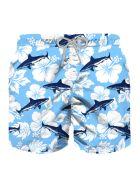 MC2 Saint Barth Velvet Blue Sharks All Over Print Boy's Light Swim Trunks