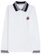 Moncler White Cotton Polo Shirt With Logo Patch - White