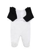 Balmain White Set For Baby Girl With Golden Logo - White