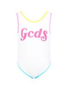 GCDS White Swimsuit For Girl With Logo - Bianco