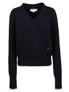 Victoria Beckham Embroidered V-neck Sweater - Navy/Pink