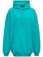 Balenciaga Turquoise Cotton Hoodie  With Logo - Light blue