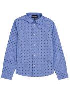 Emporio Armani Light Blue Cotton Shirt With Allover Logo Print - Light blue