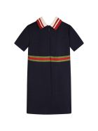 Gucci Blue Dress For Baby Girl With Double Gg - Blue