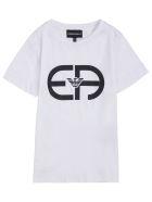 Emporio Armani Cotton Blend T-shirt With Logo Print - White
