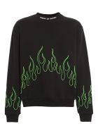 Vision of Super Crewneck Green Embroidered Flame - Black