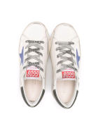 Golden Goose Junior White Super-star Sneakers With Blue Star And Black Spiler - Milk/blue/dark blue