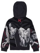 Kenzo Kids Grey Cotton Printed Hoodie With Logo - Grey