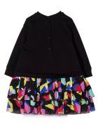 Balmain Black Cotton Blend Sweatshirt Dress - Multicolor