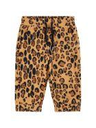 Mini Rodini Beige Sweatpants For Babykids With Leopard Print - Beige