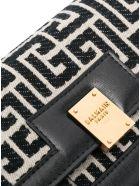 Balmain 1945 Chain Wallet In Blavck And Ivory Monogram Jacquard - Black