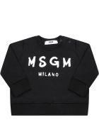 MSGM Black Sweatshirt For Babykids With Logo - Black