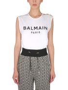 Balmain Crew Neck T-shirt - Bianco/nero