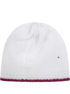 Little Bear White Hat For Babygirl With Polka-dots - White