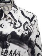Dolce & Gabbana Graffiti Cotton Poplin Shirt - White