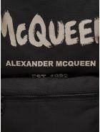 Alexander McQueen Metropolitan Graffiti Fabric Backpack With Logo - Black