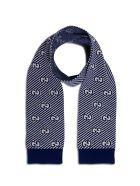 Gucci Wool Scarf With Logo - Blu